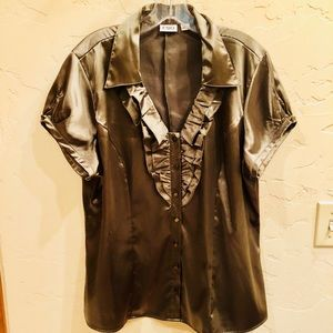 Gorgeous Olive Green Ruffle Front Blouse XL